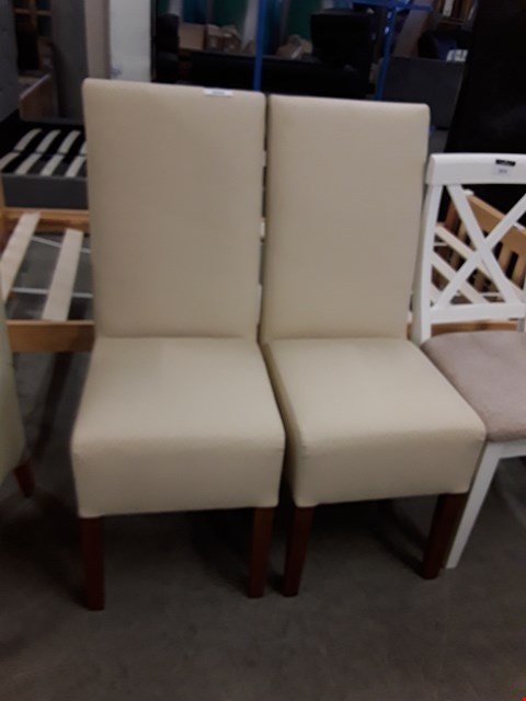 Lot 12167 SET OF 2 CREAM FAUX LEATHER DINING CHAIRS
