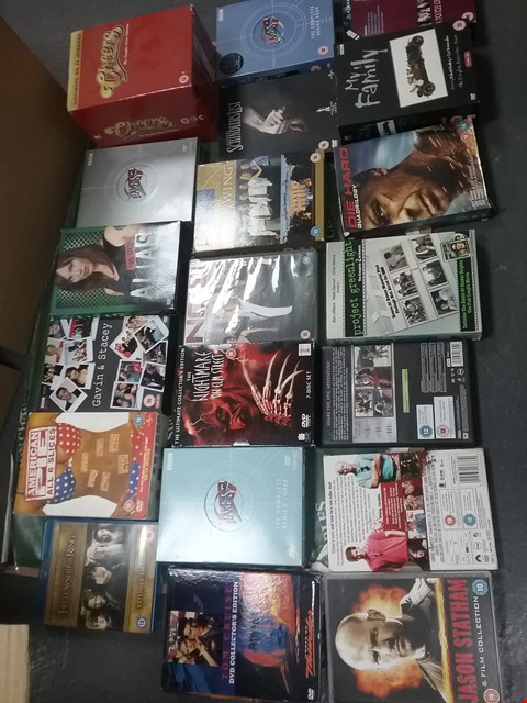Lot 12022 A BOX OF APPROXIMATELY 31 ASSORTED DVD/BOXSETS TO INCLUDE A AMERICAN PIE COLLECTION AND A CHEERS BOXSET