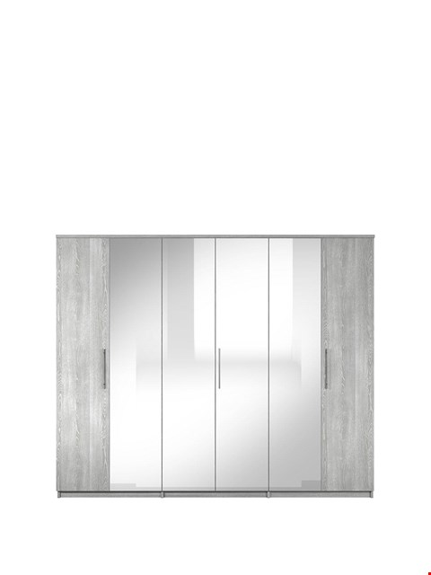 Lot 10071 BOXED PRAGUE GREY 6-DOOR WARDROBE (4 BOXES) RRP £549.99