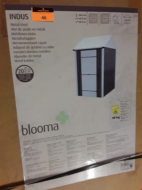 Lot 46 BOXED BLOOMA INDUS METSL PITCHED ROOF SHED 2.6 SQ M (3 BOXES)