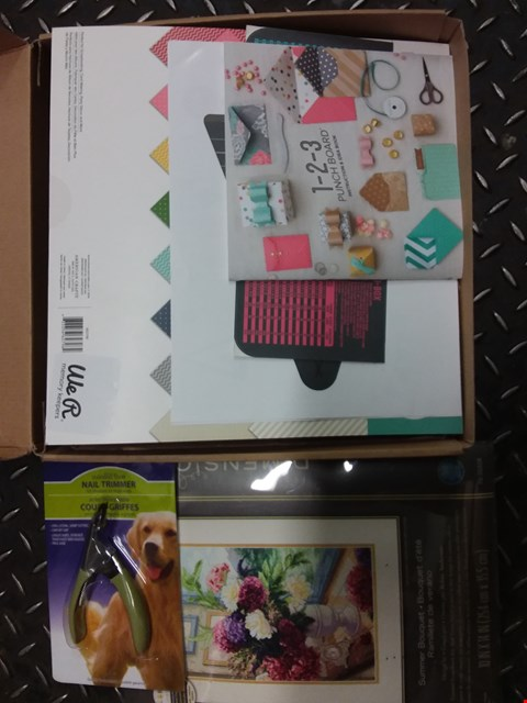 Lot 2733 BOX OF APPROXIMATELY 18 ASSORTED CRAFT ITEMS TO INCLUDE PUNCHBOARD PACK, THE GOLD COLLECTION THREAD ORGANIZER, DOG NAIL TRIMMER