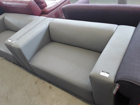 Lot 49 DESIGNER GREY FAUX LEATHER MINIMALIST 2 SEATER SOFA