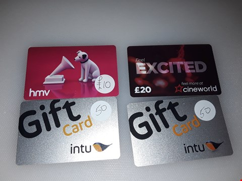 Lot 22 4 ASSORTED GIFT CARDS TO INCLUDE HMV, CINEWORLD AND INTU TOTSL VALUE £130