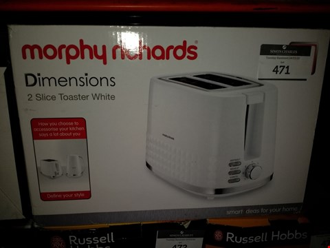 Lot 471 MORPHY RICHARDS DIMENSIONS 2 SLICE TOASTER WHITE