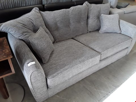 Lot 71 DESIGNER GREY FABRIC THREE SEATER SOFA