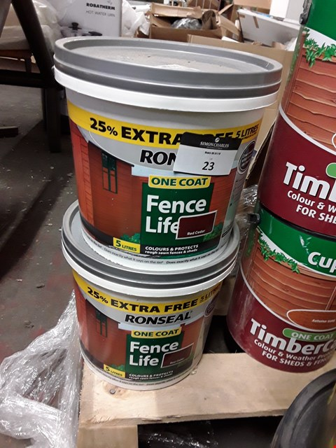 Lot 23 TWO TUBS RONSEAL RED CEDAR ONE COAT FENCE LIFE 5 LITRES RRP £24