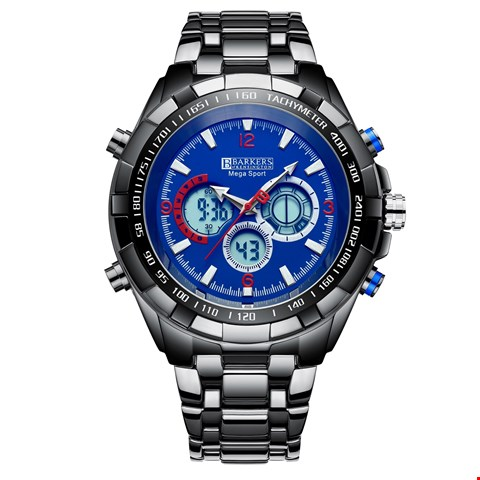 Lot 35 BRAND NEW BARKERS OF KENSINGTON DESIGNER GENTS MEGA SPORT BLUE WRIST WATCH WITH TAGS, BOX & MANUFACTURERS 5 YEAR WARRANTY  RRP £515