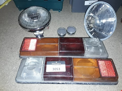 Lot 3053 SIX CLASSIC VEHICLE ITEMS, PAIR TRIUMPH REAR LIGHTS, PAIR LIGHT LENSES, LUCAS SPOTLIGHT & H4 HEADLIGHT LENS