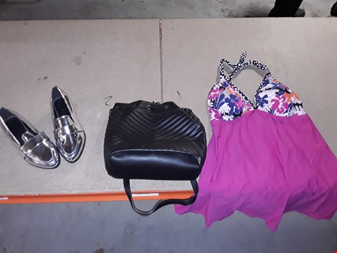 Lot 9358 4 BOXES OF APPROXIMATELY 109 ASSORTED CLOTHING AND FOOTWEAR ITEMS INCLUDING HOT PINK SWIMDRESS, BLACK SHOULDER BAG AND SILVER LOAFER SHOE