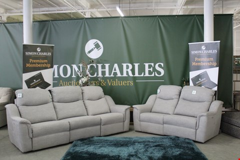 Lot 10019 QUALITY BRITISH MADE, HARDWOOD FRAMED GREY FABRIC POWER RECLINING 3 AND 2 SEATER SOFAS