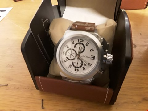 Lot 7 BOXED LA BANUS WRIST WATCH WITH BROWN STRAP AND WHITE FACE