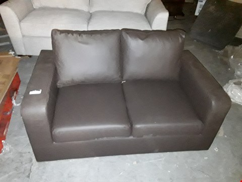 Lot 1043 DESIGNER BROWN FAUX LEATHER 2 SEATER SOFA