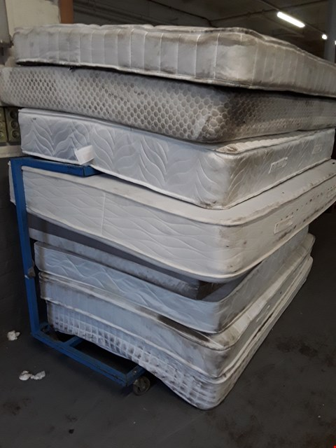 Lot 12001 TROLLEY OF APPROXIMATELY EIGHT ASSORTED UNBAGGED MATTRESSES  (TROLLEY NOT INCLUDED)