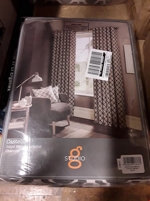 "Lot 1768 BRAND NEW CASTELLO LINED EYELET CURTAINS 90 X 72"" CHARCOAL  RRP £159.99"
