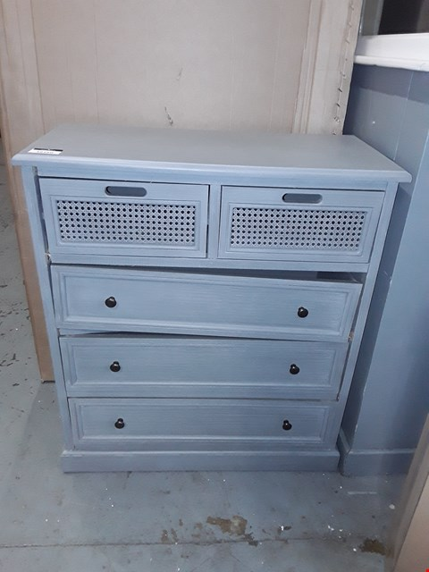 Lot 12160 DESIGNER GREY PAINTED WOOD 3+2 DRAWER STORAGE CHEST