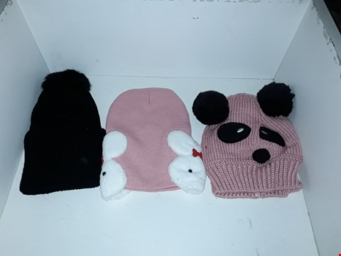 Lot 1040 BOX OF APPROXIMATELY 70 ASSORTED KNIT HATS INCLUDING BOBBLE HATS, ANIMAL HATS WITH EARS AND KNIT HAT WITH RABBIT DETAIL