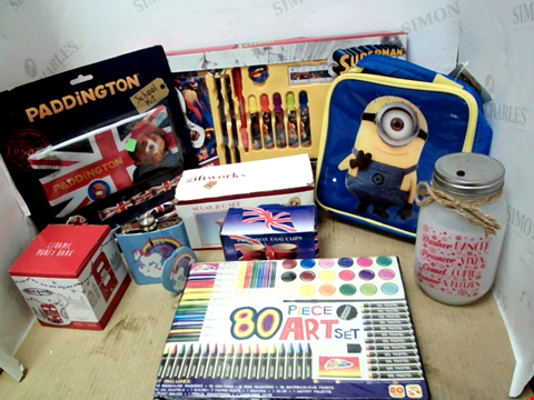 Lot 11604 BOX OF SIGNIFICANT QUANTITY OF ASSORTED HOUSEHOLD ITEMS TO INCLUDE PADDINGTON SCHOOL KIT, SUPERMAN COLOURING BOOK, DESPICABLE ME BAG
