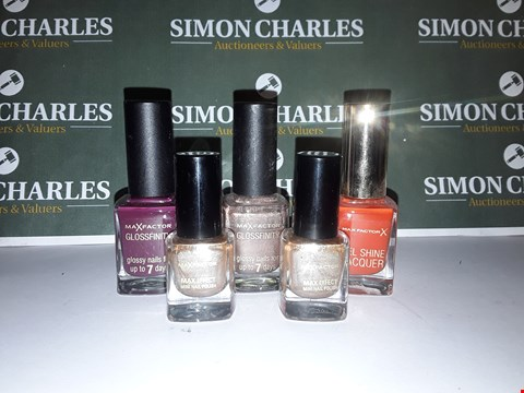 Lot 15 LOT OF 5 ASSORTED MAX FACTOR NAIL POLISHES