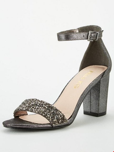 Lot 7014 BRAND NEW MISS KG CADEY BLING BLOCK HEEL SANDALS - PEWTER SIZE 4