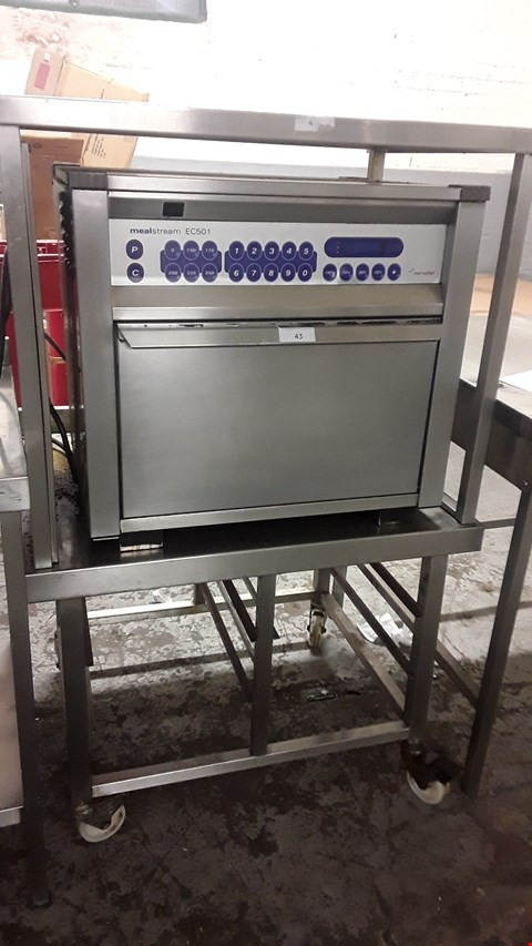 Lot 43 MERRYCHEF MEALSTREAM E C501 COMBI OVEN ON TROLLEY WITH GANTRY ABOVE