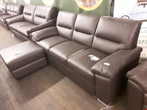 Lot 170 BRAND NEW QUALITY DESIGNER ITALIAN DARK BROWN LEATHER THREE-SEATER SOFA AND ACCOMPANYING FOOTSTOOL