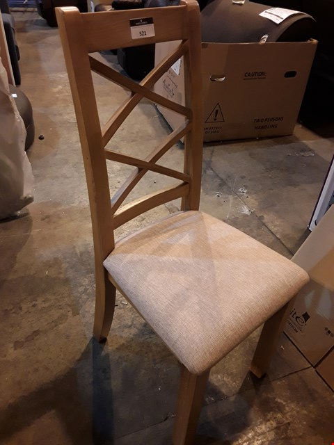 Lot 521 DESIGNER OAK DOUBLE X BACK DINING CHAIR NATURAL FABRIC SEAT