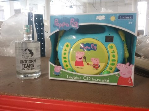 Lot 2761 LOT OF 2 ITEMS TO INCLUDE UNICORN TEARS GIN 50CL AND PEPOA PIG RADIO CD PLAYER  RRP £150