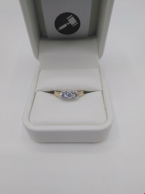 Lot 8 18CT GOLD THREE STONE TRILOGY RING RUBOVER SET WITH DIAMONDS WEIGHING +0.50CT RRP £1800.00