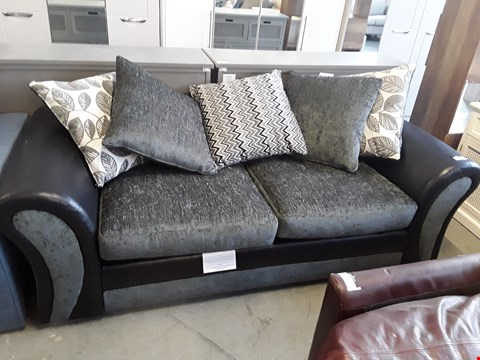 Lot 273 DESIGNER BLACK FAUX LEATHER AND CHARCOAL FABRIC 2 SEATER SOFA WITH SCATTER BACK CUSHIONS