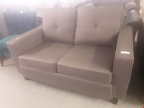 Lot 38 DESIGNER BROWN FABRIC TWO SEATER SOFA  RRP £249.99