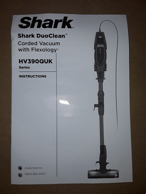 Lot 312 SHARK DUO CLEAN CORDED VACUUM WITH FLEXOLOGY