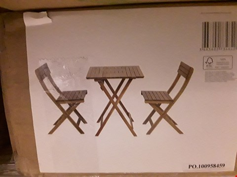 Lot 32 BOXED BLOOMA VIRGINIA CAFE SET COMPRISING TABLE & PAIR CHAIRS