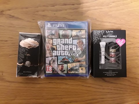 Lot 7123 BOX OF 4 ASSORTED BRAND NEW ITEMS TO INCLUDE GRAND THEFT AUTO V PS4 GAME, NYX PROFESSIONAL MAKEUP GLITTER KIT, TED BAKER ELLA 30ML EAU DE TOILETTE  RRP £83