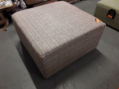 Lot 370 QUALITY BRITISH DESIGNER TAYLOR SQUARE FOOTSTOOL UPHOLSTERED IN NEO CANDY POP FABRIC RRP £299