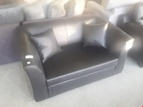 Lot 602 DESIGNER BLACK FAUX LEATHER TWO SEATER SOFA