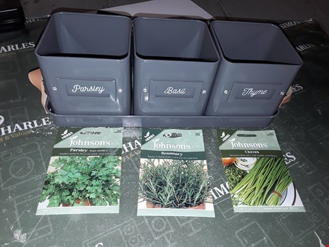 Lot 1100 SET OF 3 HERB GROWING POTS WITH TRAY AND SEEDS