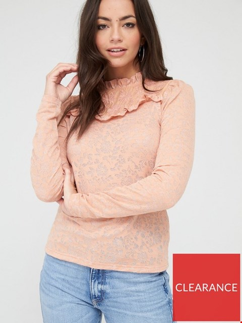 Lot 3652 BRAND NEW RIVER ISLAND PIE CRUST PUFF SLEEVE JERSEY TOP SIZE 18