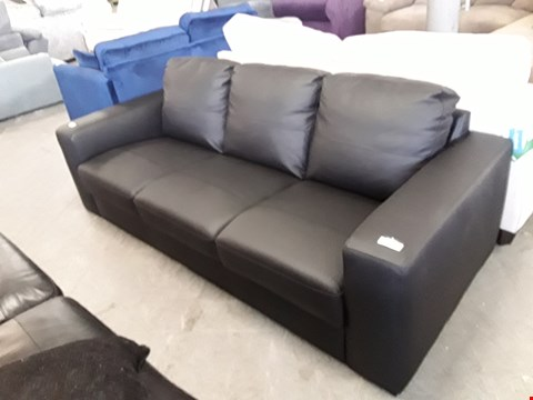 Lot 338 DESIGNER BLACK LEATHER 3 SEATER SOFA