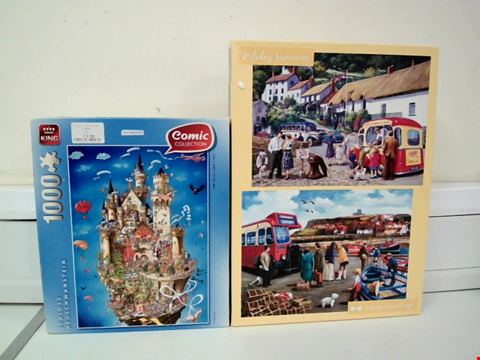 Lot 8022 KING COMIC COLLECTION SCHOOLS 1000 PIECE JIGSAW PUZZLE AND HOLIDAY MEMORIES 2X500 PIECE JIGSAW PUZZLES