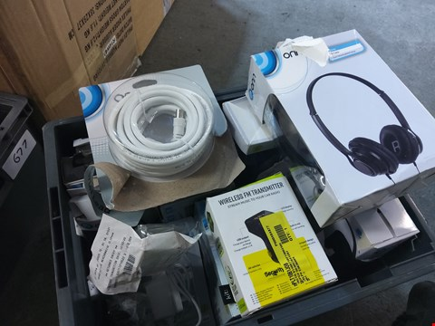 Lot 679 BOX OF 13 ASSORTED ITEMS TO INCLUDE: ONN HEADPHONES, WIRELESS FM TRANSMITTER ETC