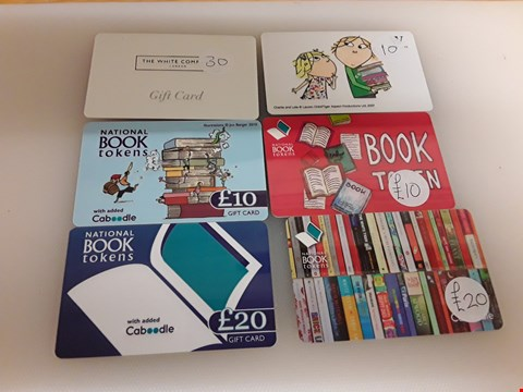 Lot 38 5 ASSORTED GIFT CARDS TO INCLUDE THE WHITE COMPANY, WATERSTONES AND NATIONAL BOOK TOKENS TOTAL VALUE £100