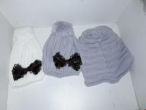 Lot 1037 BOX OF APPROXIMATELY 70 ASSORTED BRAND NEW KNIT HATS INCLUDING BOBNLE HAT WITH BOW DETAIL