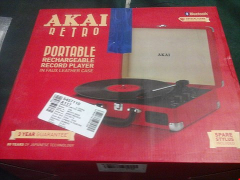 Lot 1030 BOXED AKAI RETRO PORTABLE RECHARGEABLE RECORD PLAYER
