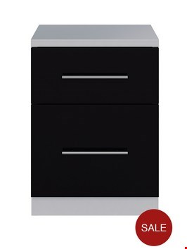 Lot 77 COLOGNE BLACK GLOSS 2 DRAWER BEDSIDE CABINET (1 BOX) RRP £105