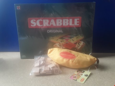 Lot 5013 THREE ASSORTED WORD GAMES, INCLUDING BOXED SCRABBLE AND BANANAGRAMS