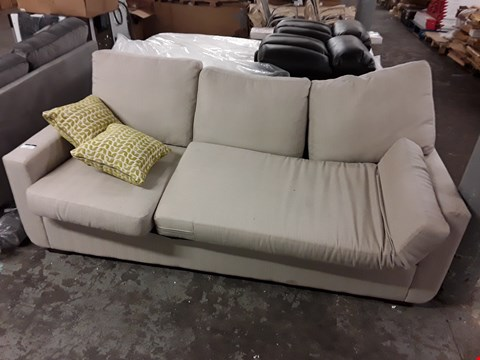 Lot 157 BEIGE FABRIC 3-SEATER SOFA BED - CUSHION SHAPE DOESN'T MATCH