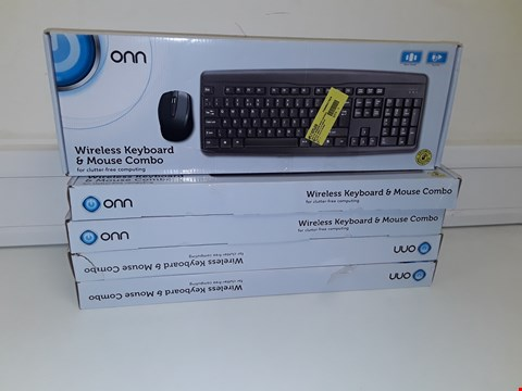 Lot 32 LOT OF 5 ONN WIRELESS KEYBOARD AND MOUSE COMBOS
