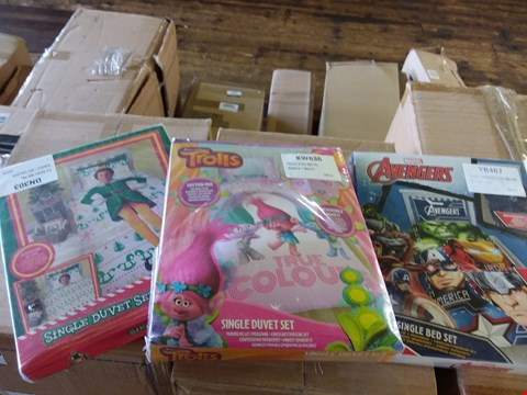 Lot 77 LOT OF 3 BOXES OF ASSORTED DUVET SETS TO INCLUDE TROLLS GLOW, ELF BUDDY, MARVEL AVENGERS APPROX 20