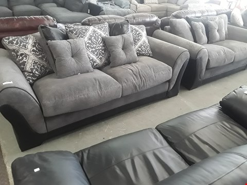 Lot 75 DESIGNER BLACK FAUX LEATHER & GREY FABRIC THREE & TWO SEATER SOFAS WITH SCATTER CUSHIONS
