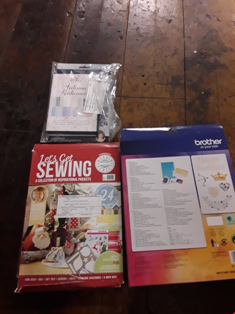 Lot 2785 BOX OF APPROXIMATELY 18 CRAFT ITEMS TO INCLUDE TATTERED LACE 3D DECOUPAGE DIE, BROTHER SCAN N CUT FOIL TRANSFER STARTER KIT AND LET'S GET SEWING PROJECT BOOK ISSUE 5